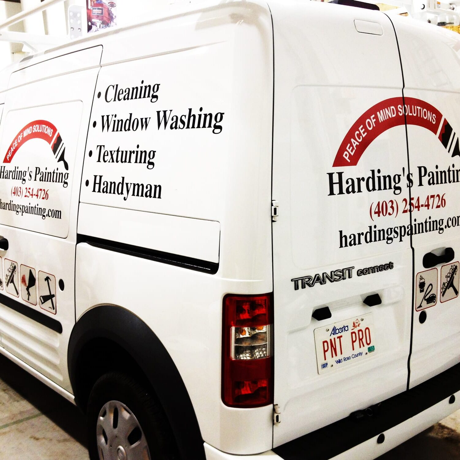 Harding's painting van decals