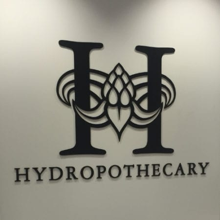Hydropothecary logo on wall